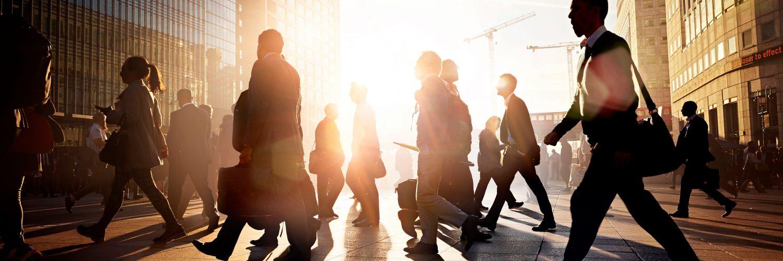 People walking in urban center